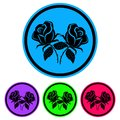 Simple, black rose silhouette icon circular. Four variations. Isolated on white