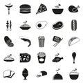 Simple black style Food Icon Set Royalty Free Stock Photo
