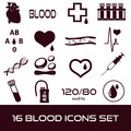 16 simple blood vector icons set