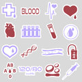 16 simple blood vector stickers set