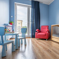 Simple blue baby room