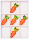 Simple box with carrots on cells isolated Royalty Free Stock Photo