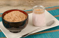 Simple breakfast bran and homemade yoghurt a yet healthy Royalty Free Stock Photos