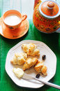 Simple breakfast with mini croissants Stock Photography