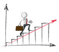 Simple business people steady growth chart sparse vector illustration of a of a generic cartoon character climbing up an steadily Stock Photos