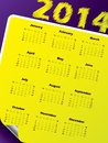 Simple calendar design with vivid colors and peeled corner Royalty Free Stock Images