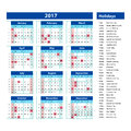 Simple calendar 2017 marked with the official holidays for the USA. The week starts on sunday. Royalty Free Stock Photo