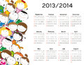 Simple calendar on new school year and with happy kids Stock Photos