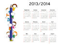 Simple calendar on new school year and with happy kids Stock Photo