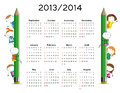 Simple calendar on new school year and with happy kids Stock Image