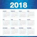 Simple calendar for 2018 Year, Week Starts Sunday
