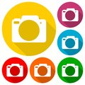 Simple Camera Icons set with long shadow