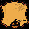 Simple card for halloween composed by one black pumpkin with two bats near it Royalty Free Stock Images