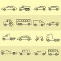 Simple cars black outline icons collection