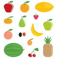 Simple cartoon shinny fruits collection of orange apple banana pear watermelon strawberry pineapple cherries peach apricot berries Royalty Free Stock Images