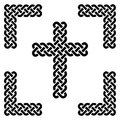 Simple Celtic style endless knot cross in black in knotted black frame on white background inspired by Irish St Patrick`s Day Royalty Free Stock Photo