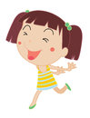 Simple child cartoon illustration of cute girl running Royalty Free Stock Image