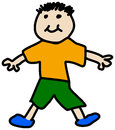 Simple child stickman illustration drawing of boy in t-shirt and
