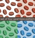 stock image of  4 Simple coffee seamless pattern