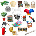 Simple collage of objects on white background Royalty Free Stock Photo