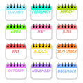 Simple collection of calendar months icons. Royalty Free Stock Photo