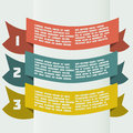 Simple color infographics with bent banners vector one two three progress labels eps Royalty Free Stock Photo