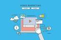 Simple color line flat design of video marketing, modern illustration