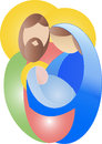 Simple colorful Holy Family Mary Joseph and Jesus Christmas vect