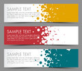 Simple colorful horizontal banners with circle motive yellow red and blue Stock Photos