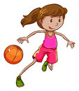 A simple coloured sketch of a girl playing basketball Royalty Free Stock Photo