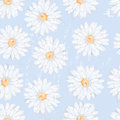 Simple daisy flowers seamless pattern in naive style Royalty Free Stock Photo