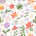 Simple doodle flower and dots pattern. Vector illustration. The elegant template for fashion prints. Royalty Free Stock Photo
