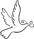 Simple dove flying with cross like symbol Royalty Free Stock Photography