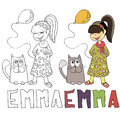 The simple drawing cartoon for coloring image of children with different names in the compatibility with the character Royalty Free Stock Photo