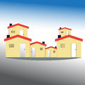 Simple drawing of house on color background Stock Images