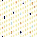 Simple drop polka dot shape seamless row pattern.