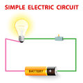 A simple electric circuit electrical network switch light bulb wire and battery vector illustration Stock Photos