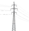 Simple electrical steel pylon isolated on white Royalty Free Stock Photo