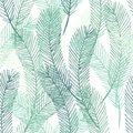 Simple elegant pattern of hand drawn palm leaves. Green tropical branches on white background. Seamless vector pattern