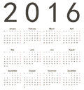 Simple european square calendar year vector week starts from monday Royalty Free Stock Images