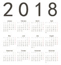 Simple european square calendar year vector week starts from monday Stock Images