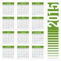 Simple european year vector calendar grid for clean and neat only plain colors easy to recolor illustration Royalty Free Stock Image