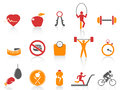 Simple fitness icons set orange color series from white background Stock Images