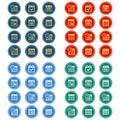 Simple, flat, circular calendar icon set. 12 icons, 4 color design variations