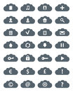 Simple flat clouds icon set isolated ob white vector illustration Stock Image
