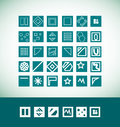 Simple flat geometric icon set