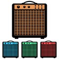 Simple, vector flat guitar amp amplifier icon. Four color variations Royalty Free Stock Photo