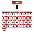 Simple, flat, red and white calendar icon set for the month of April. One for every day. Isolated on white Royalty Free Stock Photo