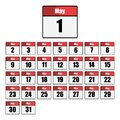 Simple, flat, red and white calendar icon set for the month of May. One for every day. Isolated on white