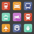 Simple flat transport icons set with long shadows vector eps illustration Stock Images